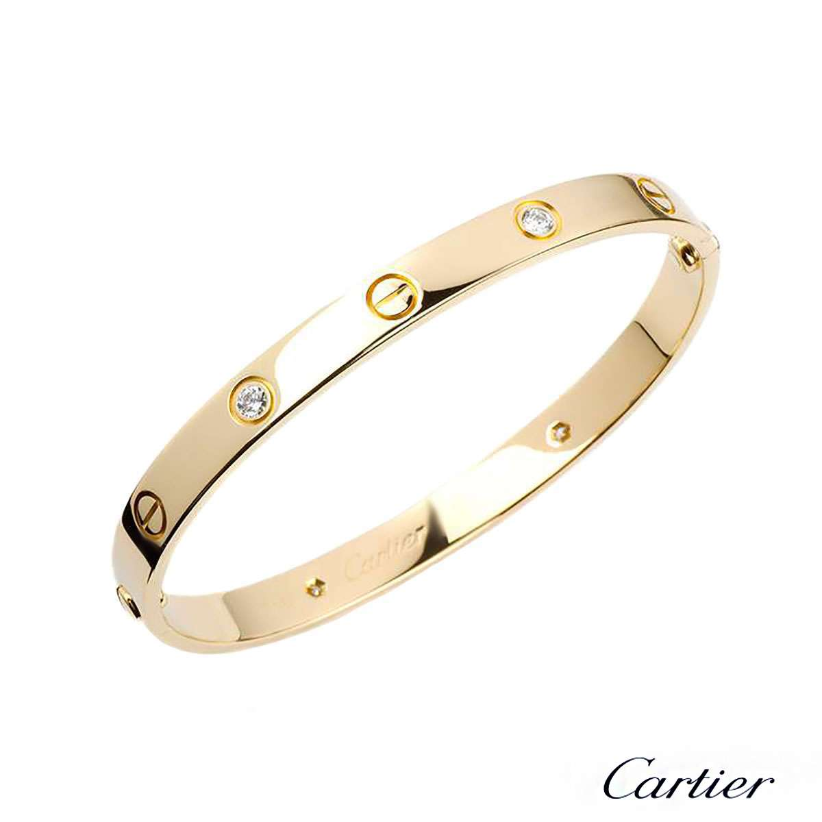 CartierYellow Gold Half Diamond Love Bracelet Size 19B6035919